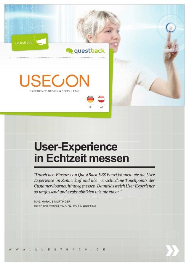 """W W W . Q U E S T B A C K . D E User-Experience in Echtzeit messen """"Durch den Einsatz von QuestBack EFS Panel können wir d..."""