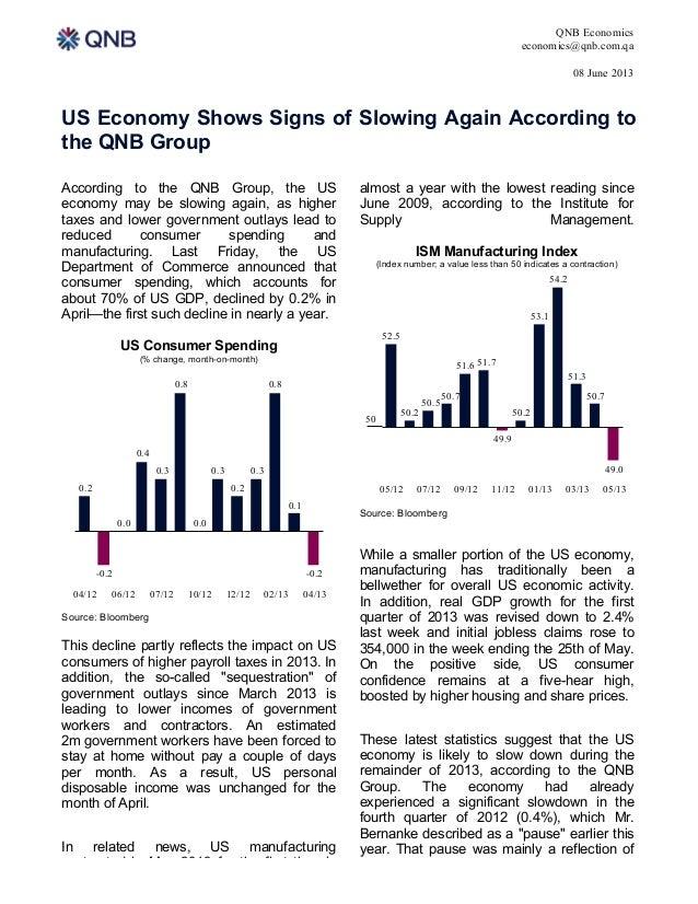 QNB Economicseconomics@qnb.com.qa08 June 20131US Economy Shows Signs of Slowing Again According tothe QNB GroupAccording t...