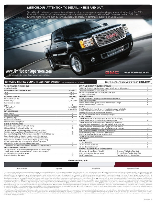 Consolidated Fulfillment Spec Sheet 08-GL-E-0055 Page 1 File Name: 2009 Sierra Denali CD: Giordano AD: Phil Lewis CW: Eve ...