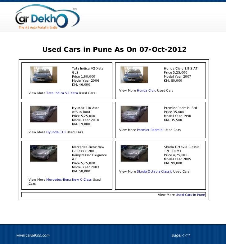 Used Cars in Pune As On 07-Oct-2012                              Tata Indica V2 Xeta                             Honda Civ...