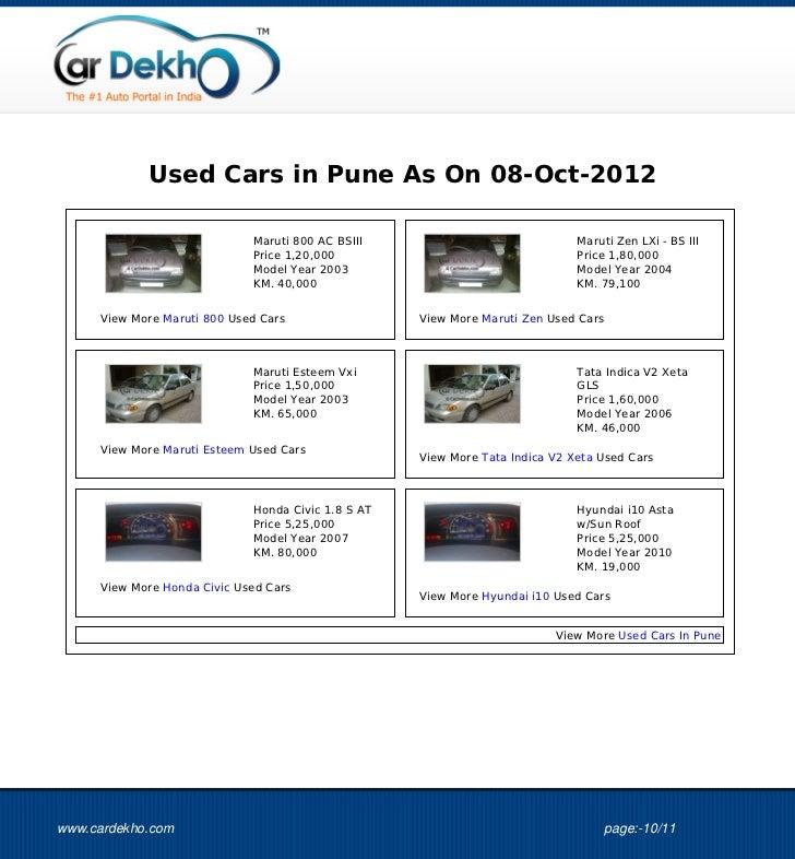 Used Cars in Pune As On 08-Oct-2012                             Maruti 800 AC BSIII                              Maruti Ze...