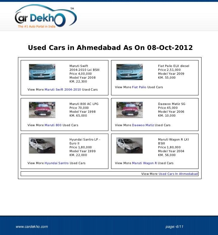Used Cars in Ahmedabad As On 08-Oct-2012                              Maruti Swift                                     Fia...