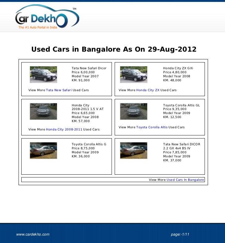 Used Cars in Bangalore As On 29-Aug-2012                              Tata New Safari Dicor                               ...