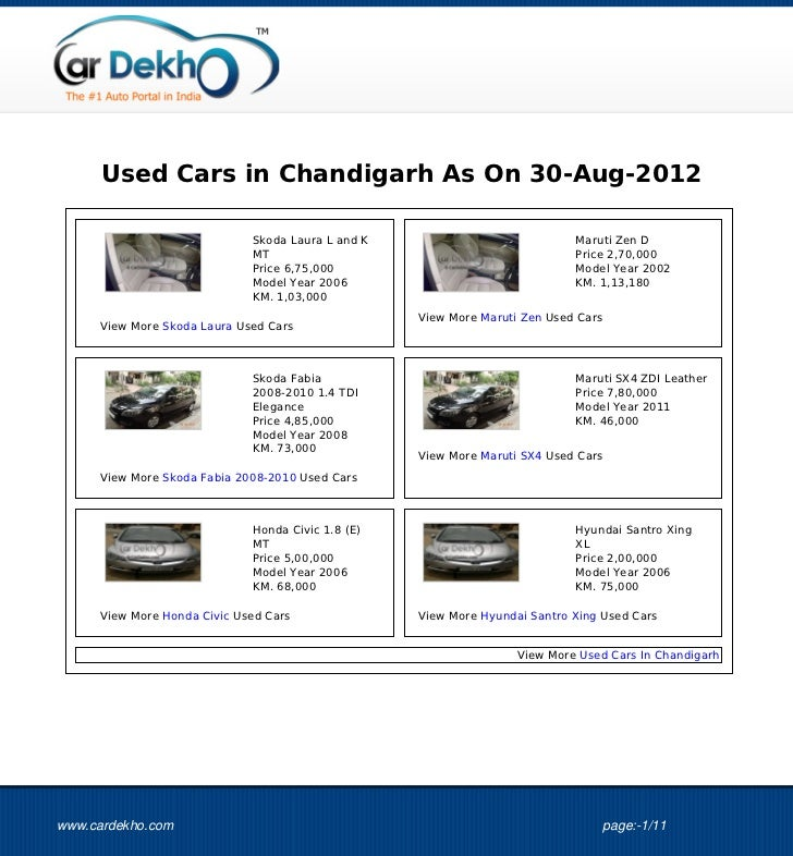 Used Cars in Chandigarh As On 30-Aug-2012                             Skoda Laura L and K                            Marut...
