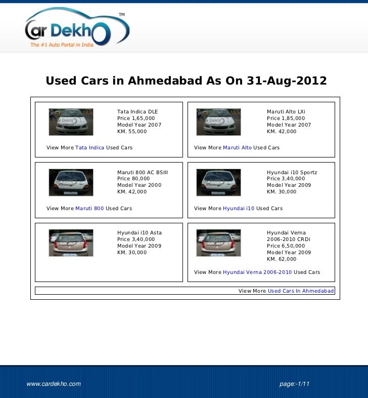 Used Cars in Ahmedabad As On 31-Aug-2012                              Tata Indica DLE                                 Maru...