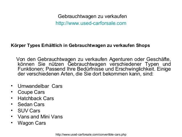 Gebrauchtwagen zu verkaufen http://www.used-carforsale.com Körper Types Erhältlich in Gebrauchtwagen zu verkaufen Shops Vo...