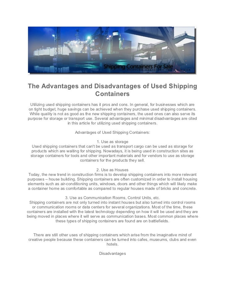 advantages and disadvantagesw of a paper based shipping container
