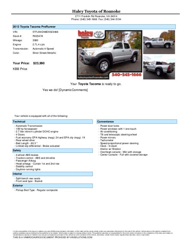 Haley Toyota Roanoke >> Used Toyota Tacoma Haley Toyota Roanoke