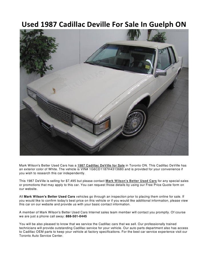 Used 1987 Cadillac Deville For Sale In Guelph ON