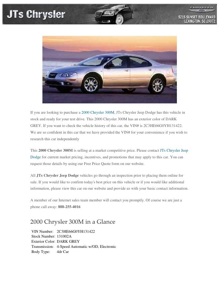 used 2000 chrysler 300m for sale near lexington sc