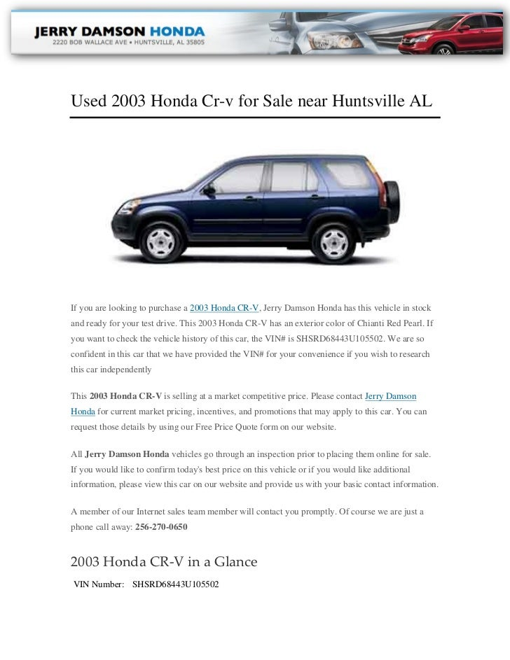 Used 2003 Honda Cr V For Sale Near Huntsville ALIf You Are Looking To  Purchase ...