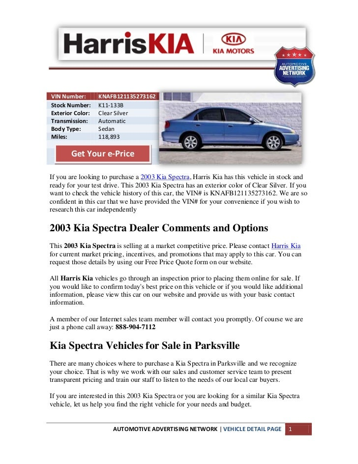 Used 2003 Kia Spectra For Sale Near Parksville Bc