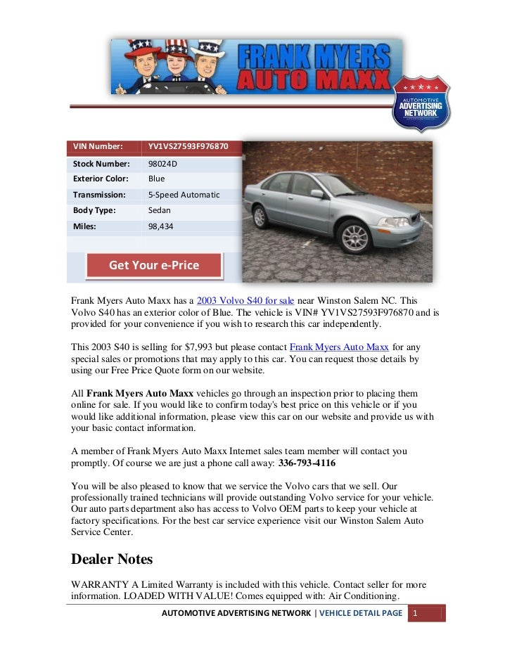 Used 2003 Volvo S40 For Sale Near Winston Salem Nc