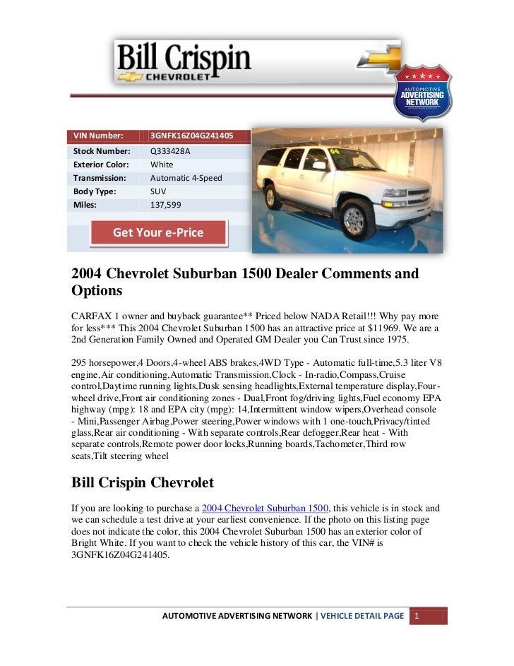 Suburban Ann Arbor >> Used 2004 Chevrolet Suburban 1500 For Sale Near Ann Arbor Mi