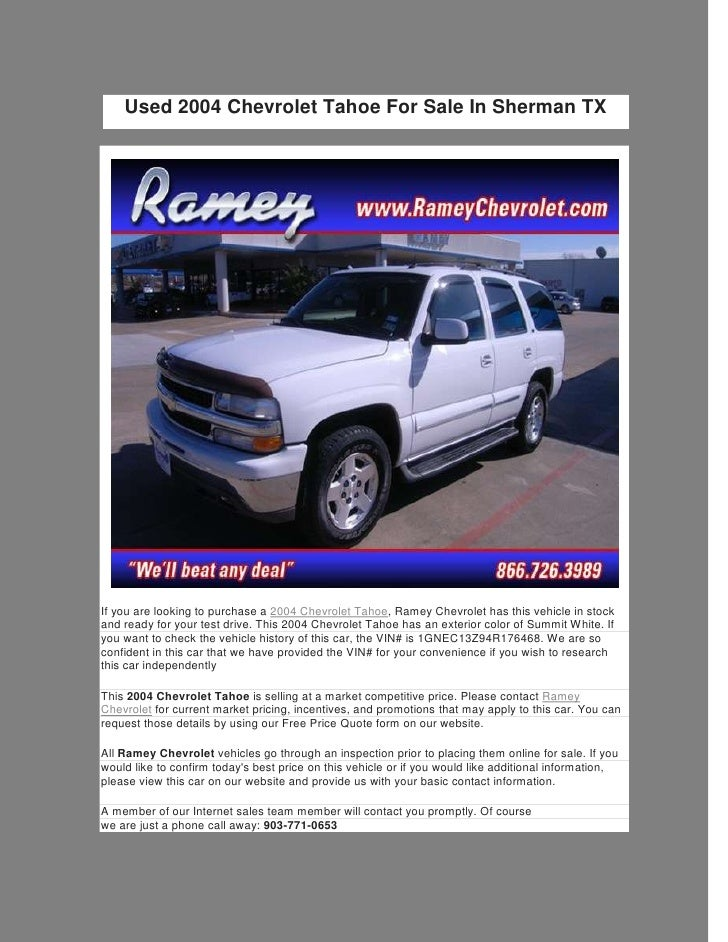 Used 2004 Chevrolet Tahoe For Sale In Sherman TXIf You Are Looking To  Purchase A 2004 ...
