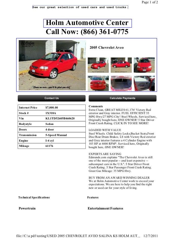 Salina Used Cars >> Used 2005 Chevrolet Aveo Salina Ks Holm Automotive Center