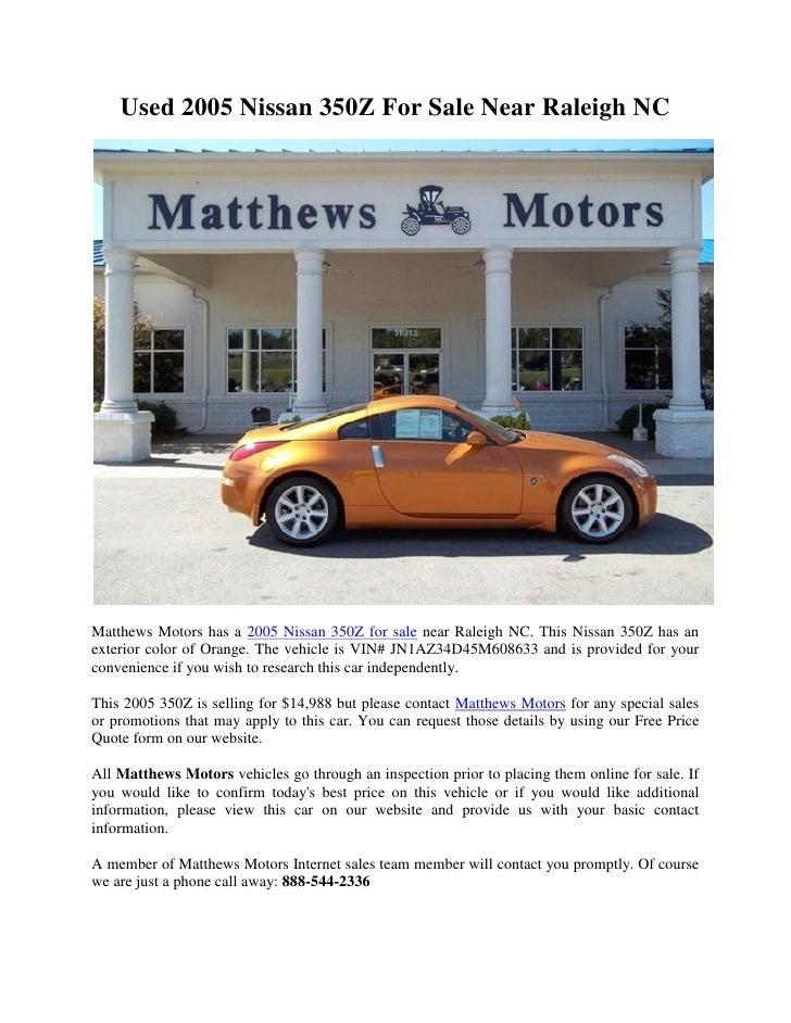 Used 2005 Nissan 350z For Sale Near Raleigh Nc