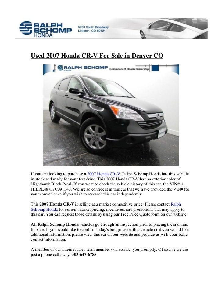 Honda Dealership Denver >> Used 2007 Honda Cr V For Sale In Denver