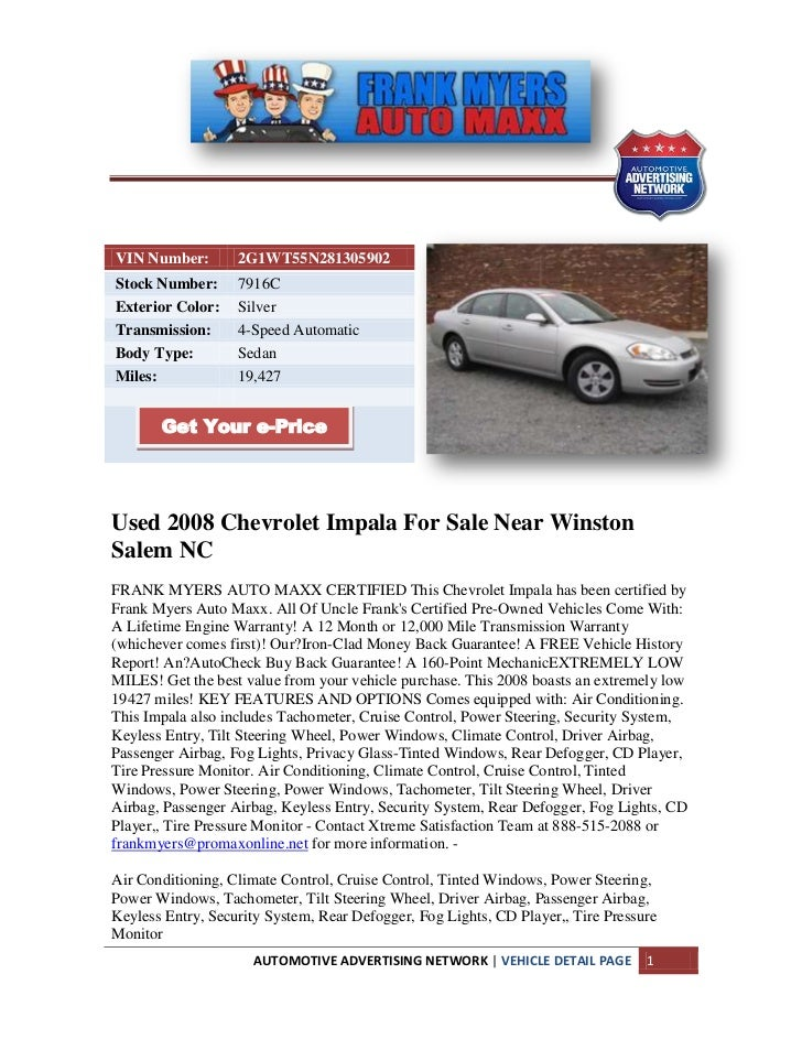 VIN Number:        2G1WT55N281305902Stock Number:      7916CExterior Color:    SilverTransmission:      4-Speed AutomaticB...