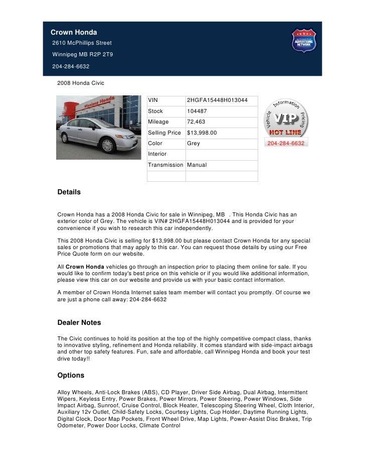 Crown Honda Mcphillips >> Used 2008 Honda Civic For Sale In Winnipeg Mb