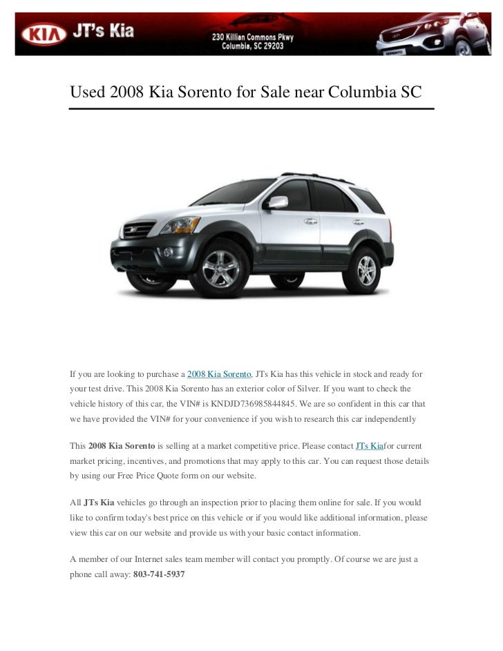 used 2008 kia sorento for sale near columbia sc. Black Bedroom Furniture Sets. Home Design Ideas