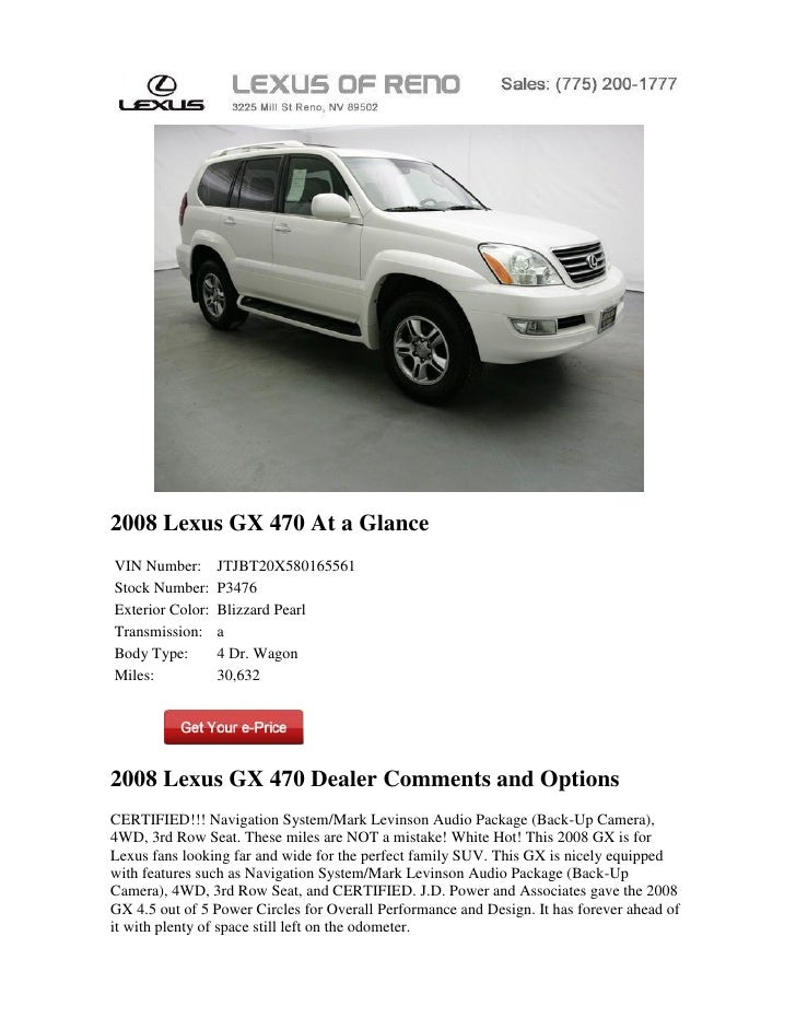 2008 Lexus GX 470 At a GlanceVIN Number:       JTJBT20X580165561Stock Number:     P3476Exterior Color:   Blizzard PearlTra...