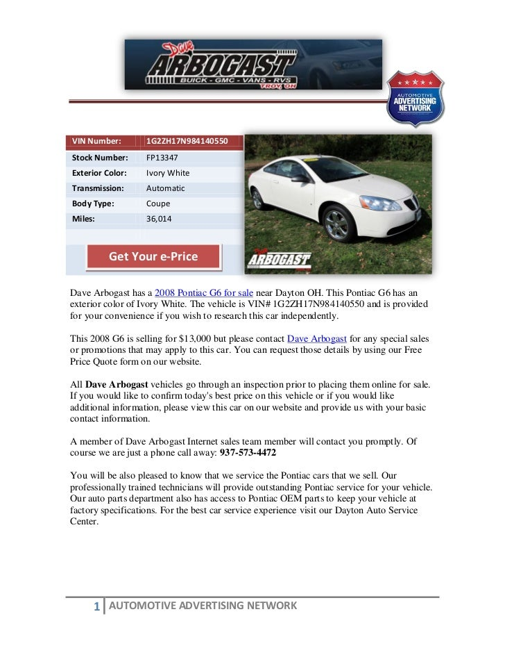 VIN Number:        1G2ZH17N984140550Stock Number:      FP13347Exterior Color:    Ivory WhiteTransmission:      AutomaticBo...