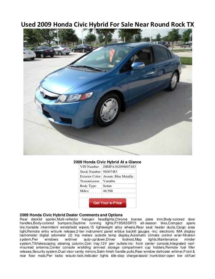 used 2009 honda civic hybrid for sale near round rock tx. Black Bedroom Furniture Sets. Home Design Ideas
