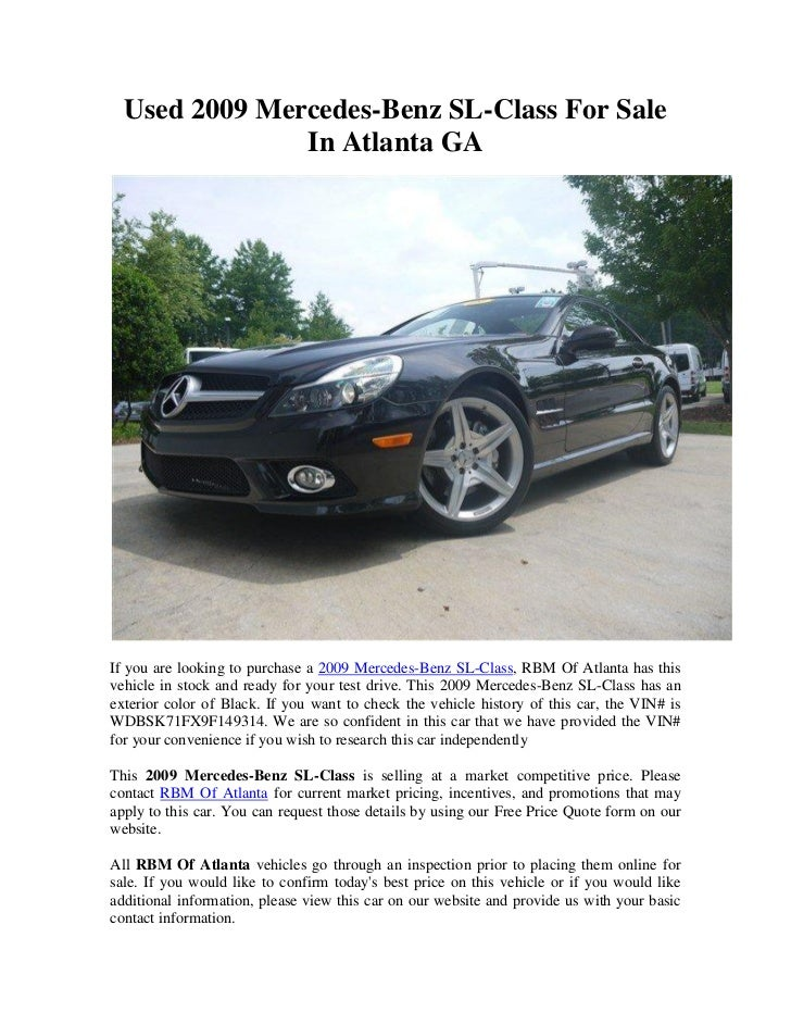Used 2009 Mercedes-Benz SL-Class For Sale               In Atlanta GAIf you are looking to purchase a 2009 Mercedes-Benz S...
