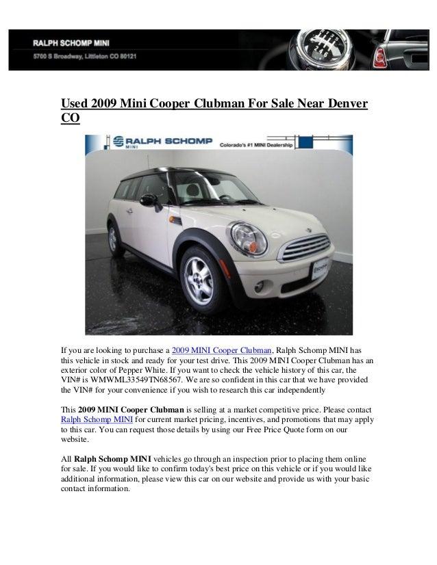 Mini Cooper Denver >> Used 2009 Mini Cooper Clubman For Sale Near Denver Co