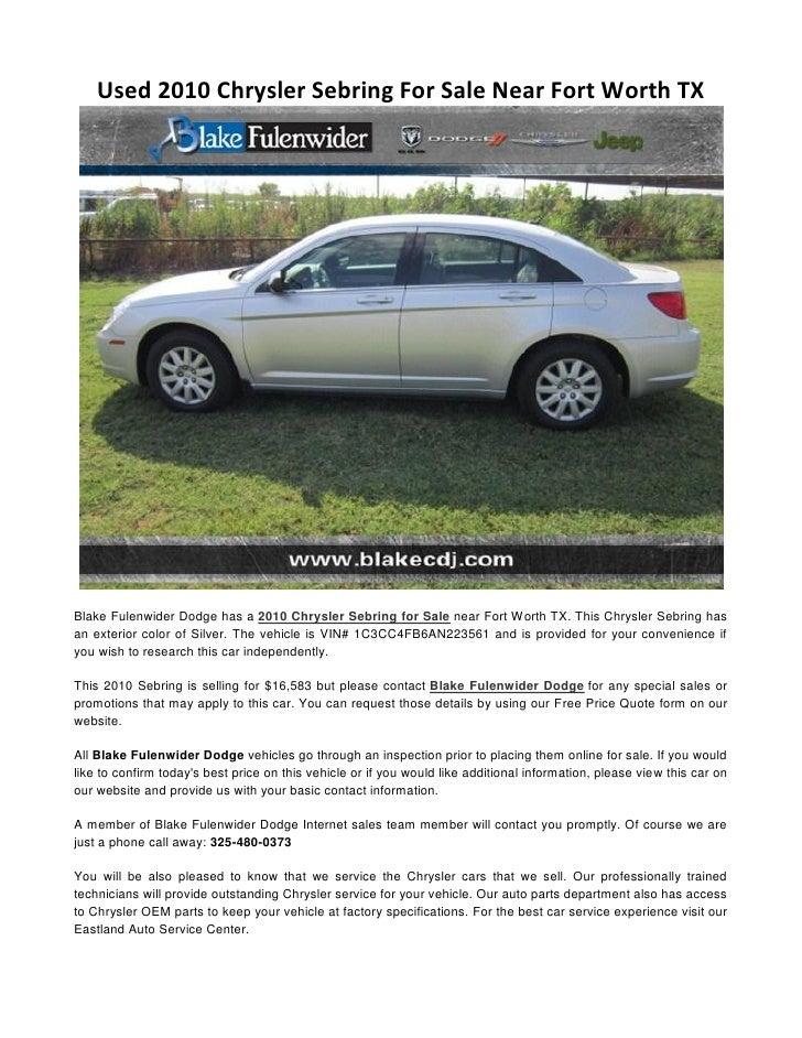Used 2010 Chrysler Sebring For Sale Near Fort Worth TX