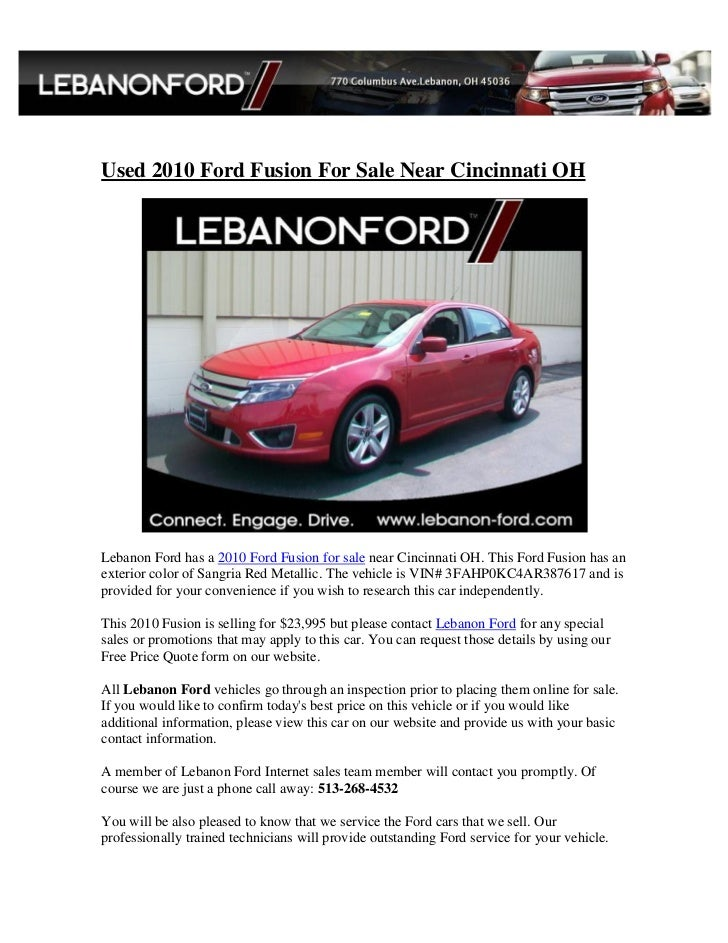 Used 2010 Ford Fusion For Sale Near Cincinnati OHLebanon Ford has a 2010 Ford Fusion for Our auto ...  sc 1 st  SlideShare & Used 2010 Ford Fusion for Sale Near Cincinnati OH markmcfarlin.com