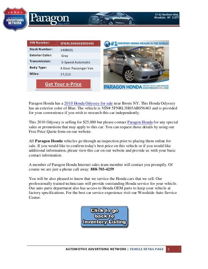 Bronx Car Dealers >> Used 2010 Honda Odyssey For Sale Near Bronx Ny