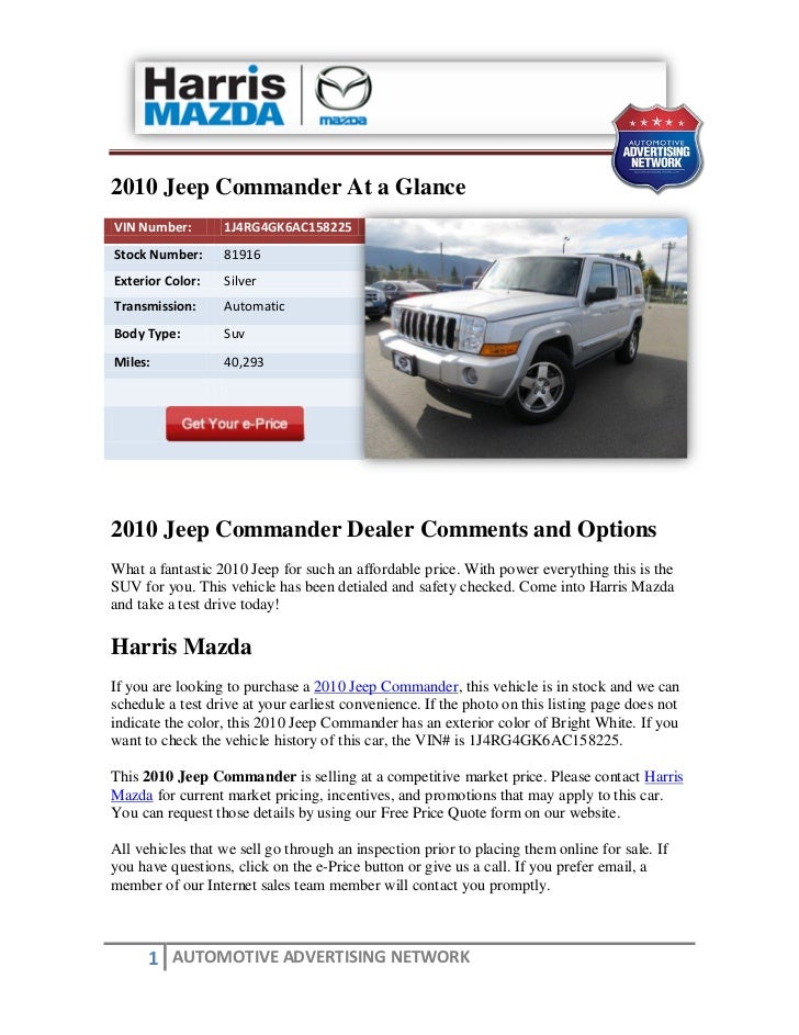 Used 2010 jeep commander for sale near parksville bc