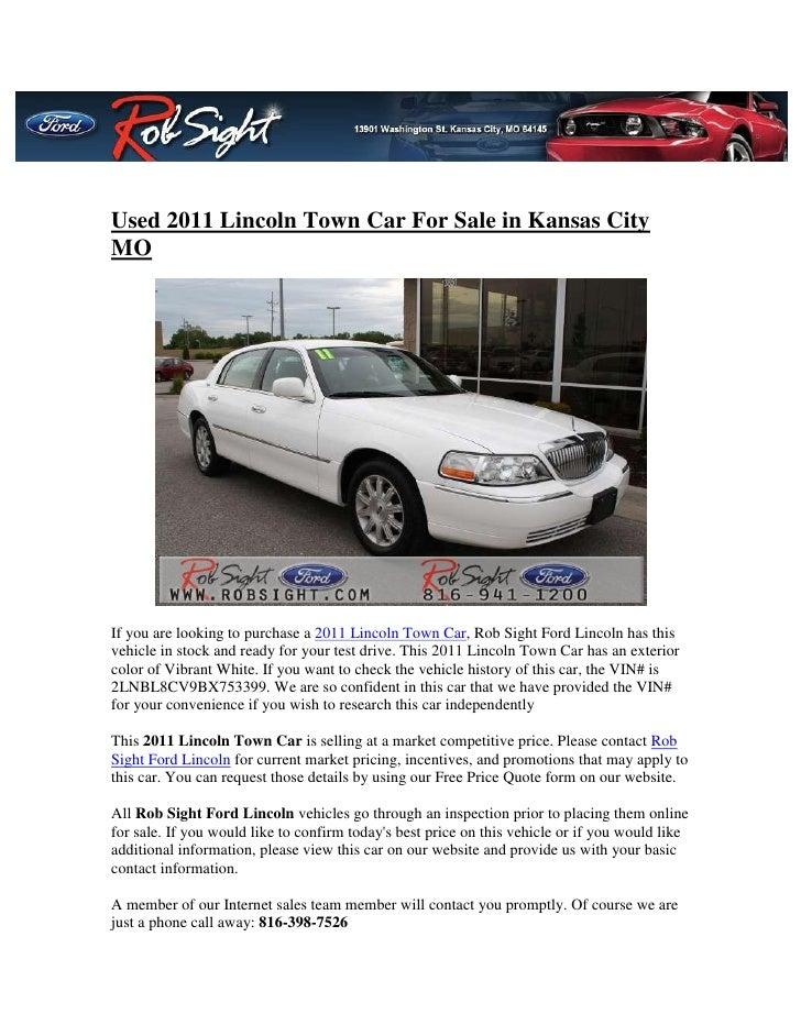 Used 2011 Lincoln Town Car For Sale In Kansas City Mo