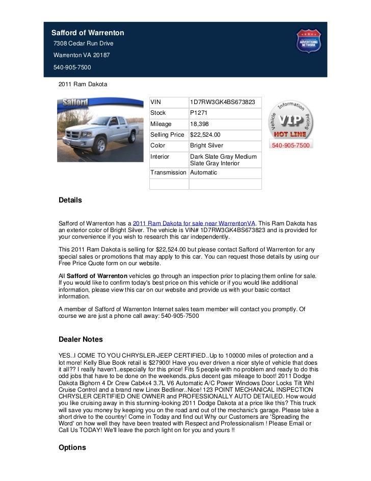 Safford of Warrenton7308 Cedar Run DriveWarrenton VA 20187540-905-7500 2011 Ram Dakota                                    ...