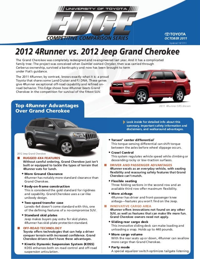 2012 Jeep Grand Cherokee Top 4Runner Advantages Over Grand Cherokee The  Grand ...