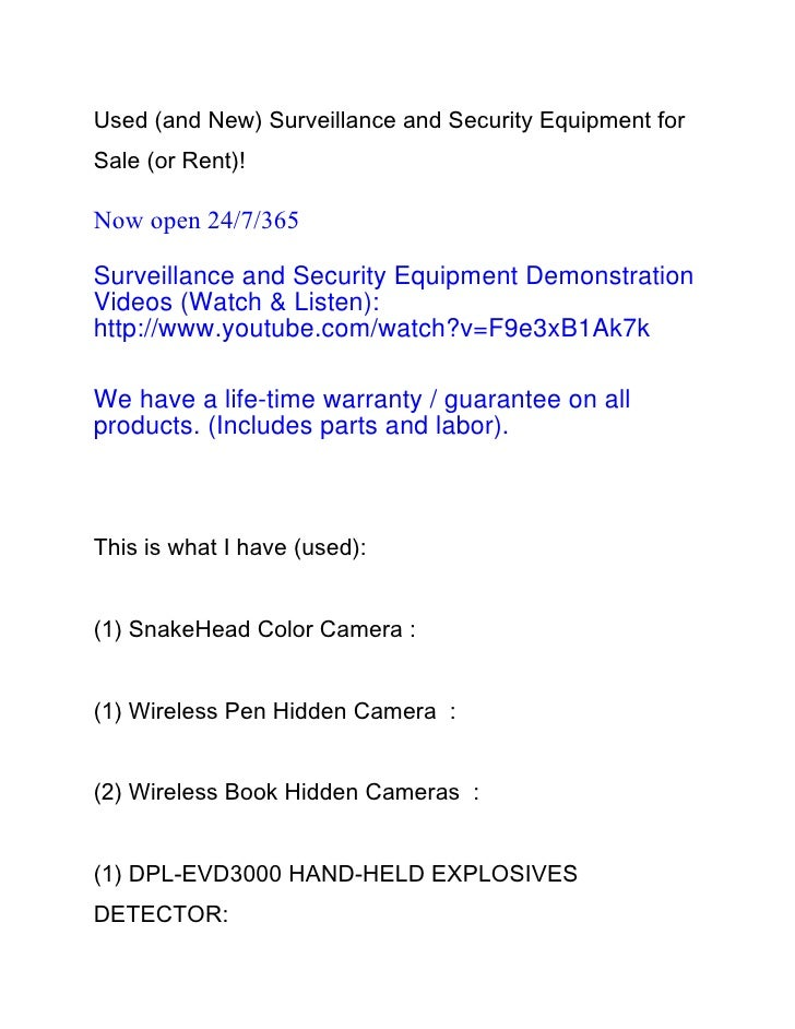 Used (and New) Surveillance and Security Equipment forSale (or Rent)!Now open 24/7/365Surveillance and Security Equipment ...