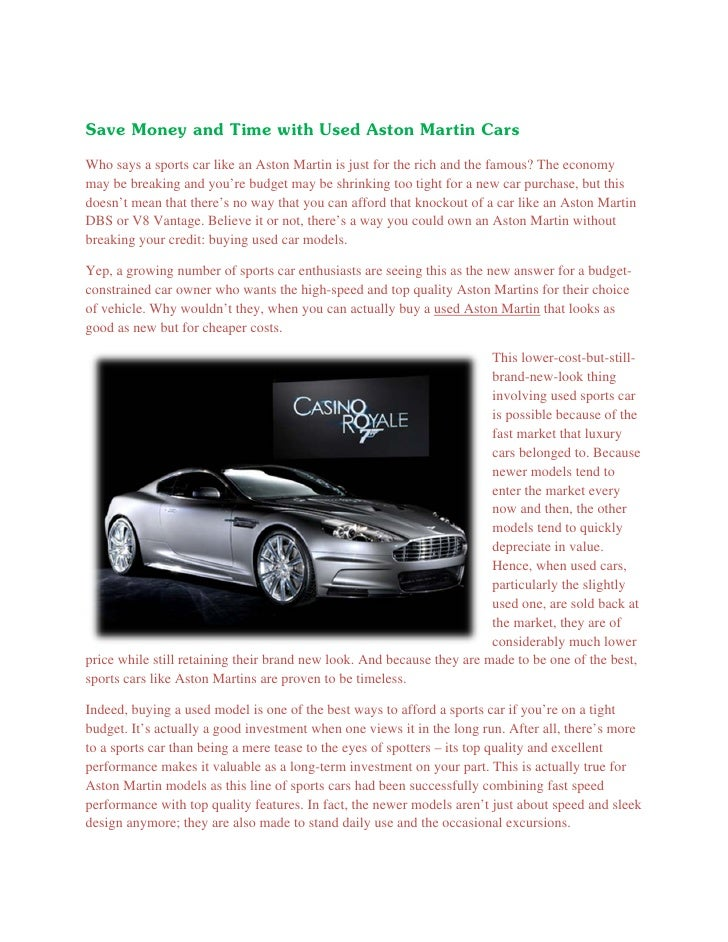 3. Save Money And Time With Used Aston Martin ...