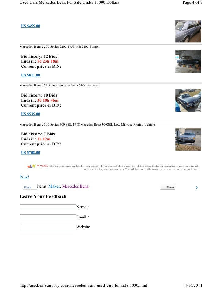 Used Cars Mercedes Benz For Sale Under $1000 Dollars