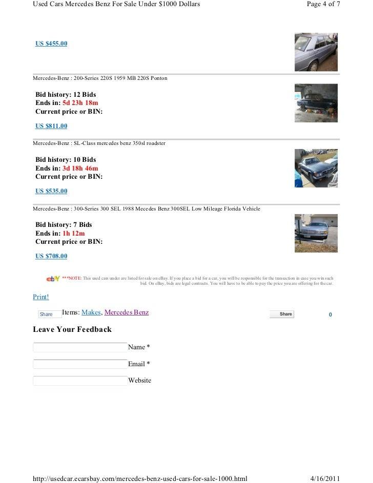 used cars mercedes benz for sale under 1000 dollars. Black Bedroom Furniture Sets. Home Design Ideas