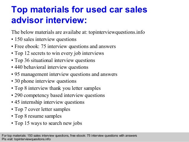 Used Car Sales Advisor Interview Questions And Answers