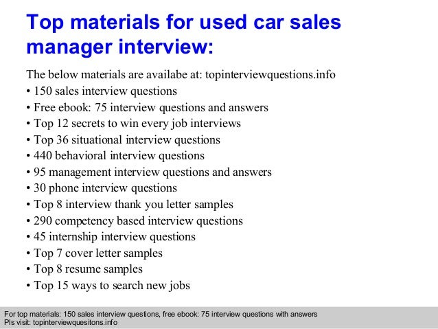 Used car sales manager interview questions and answers