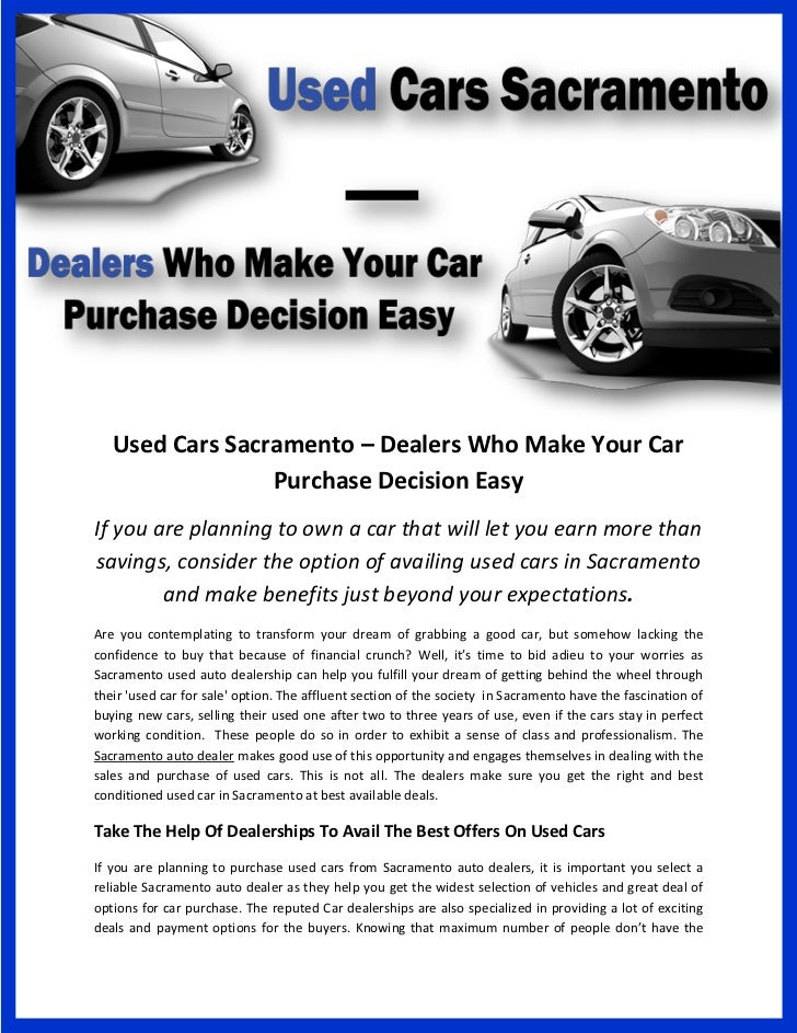 Used Cars Sacramento >> Used Cars Sacramento Dealers Who Make Your Car Purchase