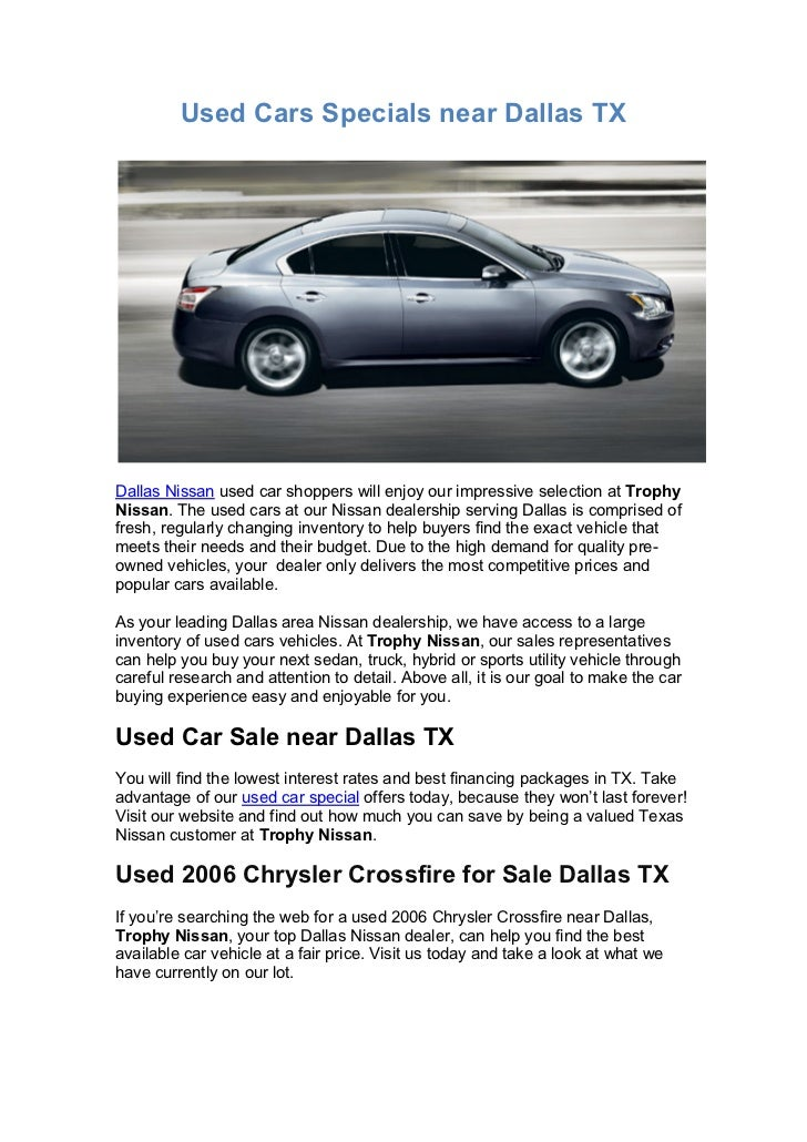 Used Cars Specials near Dallas TX Trophy Nissan