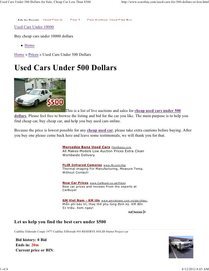 Used Cars Under 500 Dollars for Sale, Cheap Car Less Than $500                         http://www.ecarsbay.com/used-cars-f...
