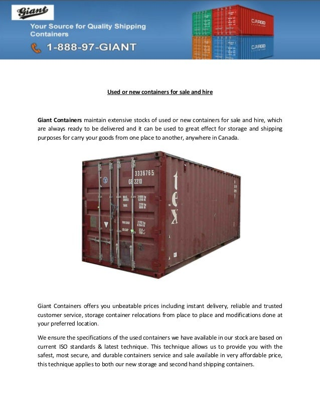 Used or new containers for sale and hireGiant Containers maintain extensive stocks of used or new containers for sale and ...