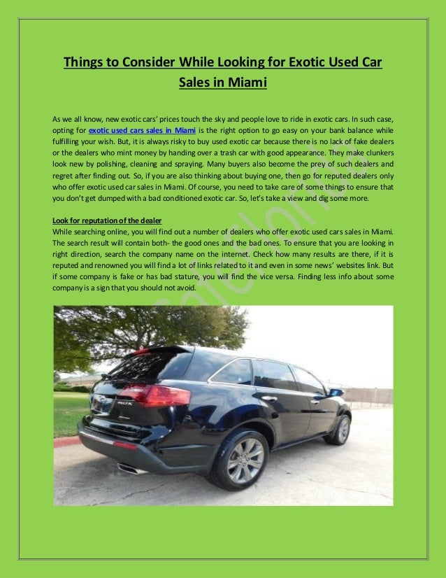 Used Cars Miami >> Exotic Used Car Sales In Miami