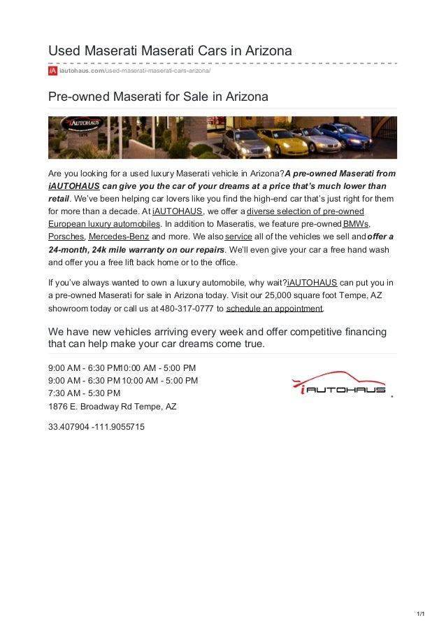 Cars For Sale In Arizona >> Used Maserati Cars In Arizona For Sale In Tempe Az Near