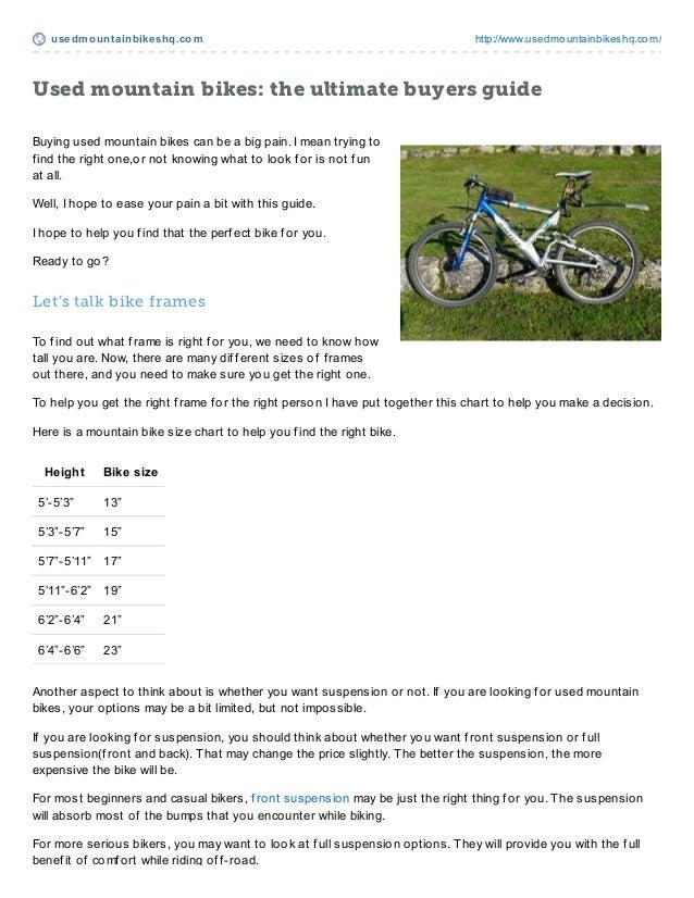 usedmount ainbikeshq.com http://www.usedmountainbikeshq.com/Used mountain bikes: the ultimate buyers guideBuying used moun...